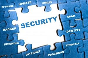 Security blue puzzle pieces assembled - Phishing Alert