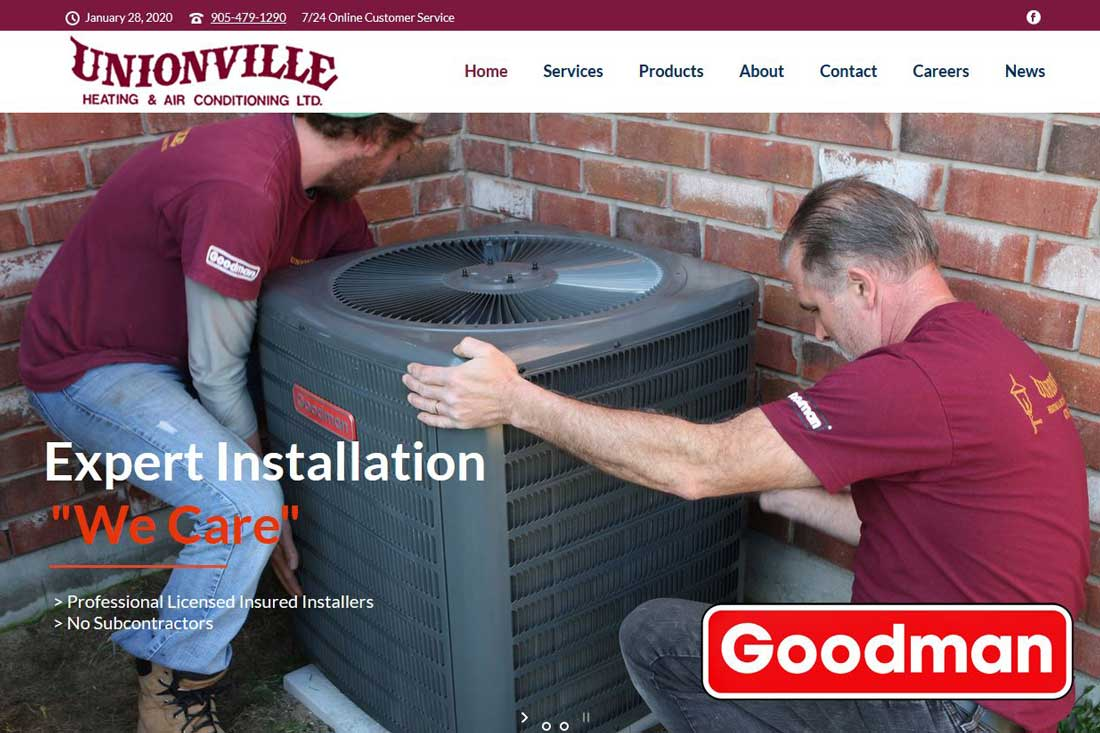 Unionville Heating screen capture